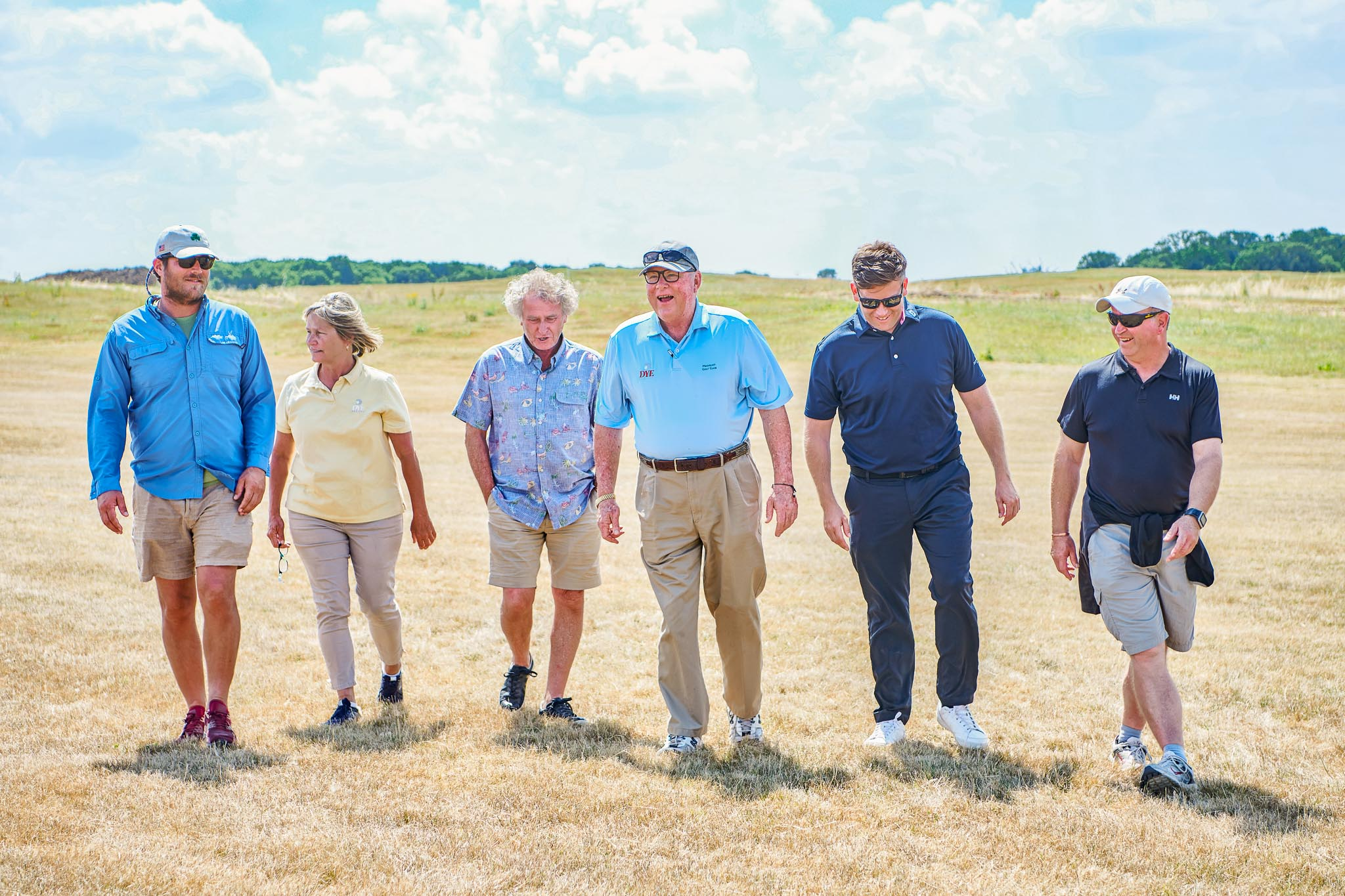 (From left) Matt McGarey, Cynthia Dye, Tony Menai-Davis, Perry Dye, Ceri Menai-Davis and Nigel Ely during a course inspection at West London Links in summer 2018. Photo by Robert Parfitt.