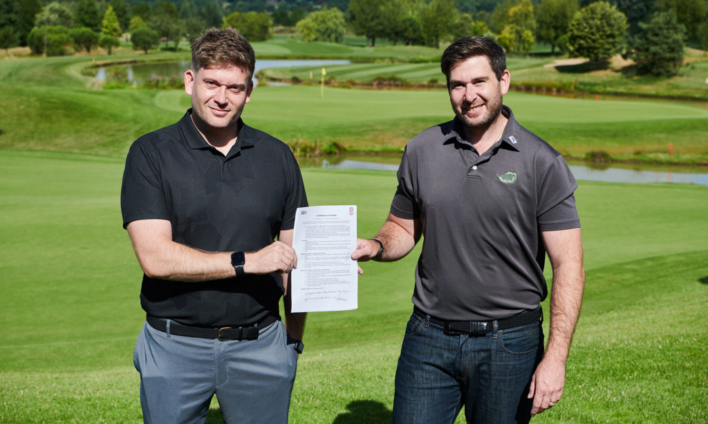 Directors Ceri and Cae Menai-Davis at The Shire London with Signed Women in Golf Charter
