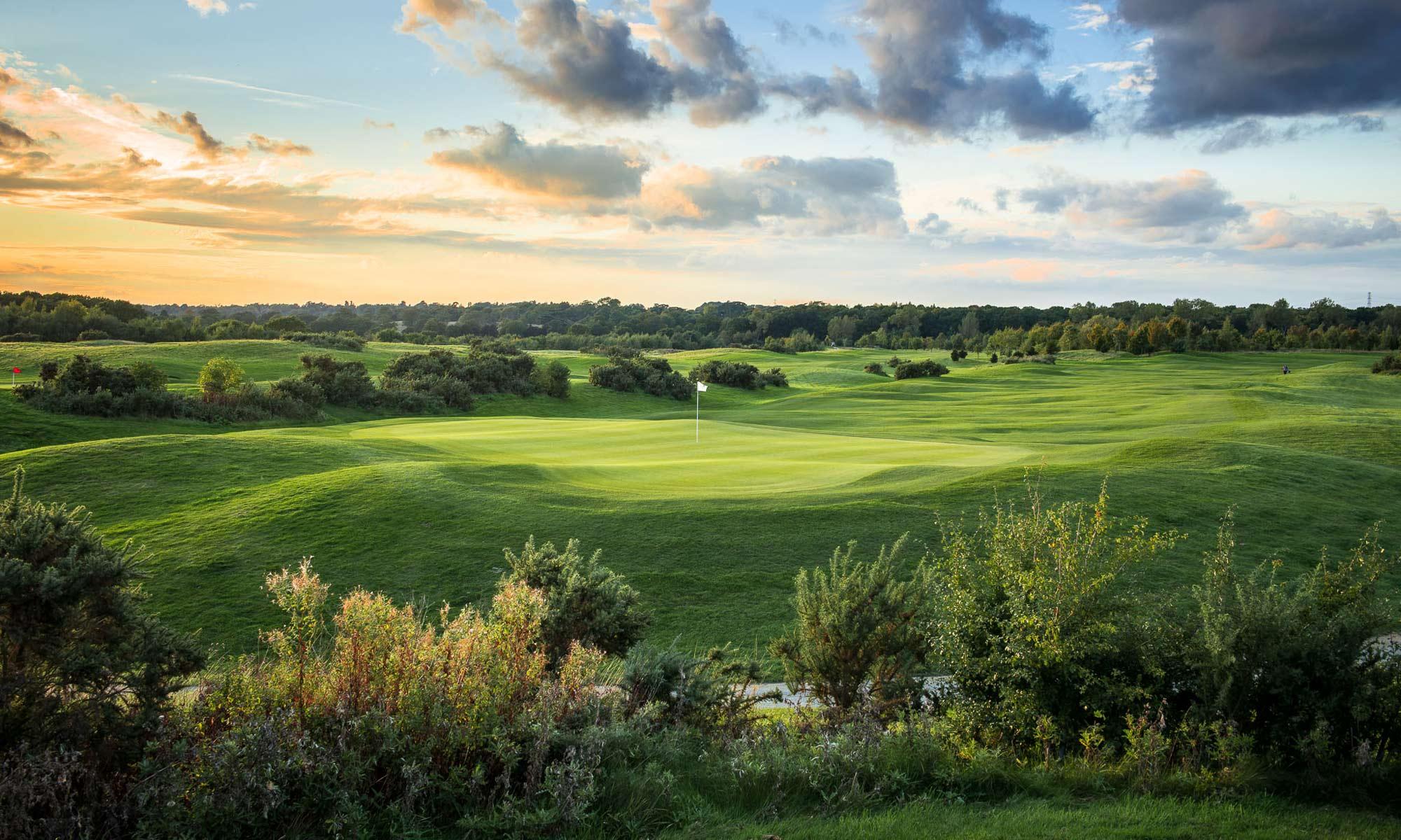 18 hole golf course at dusk