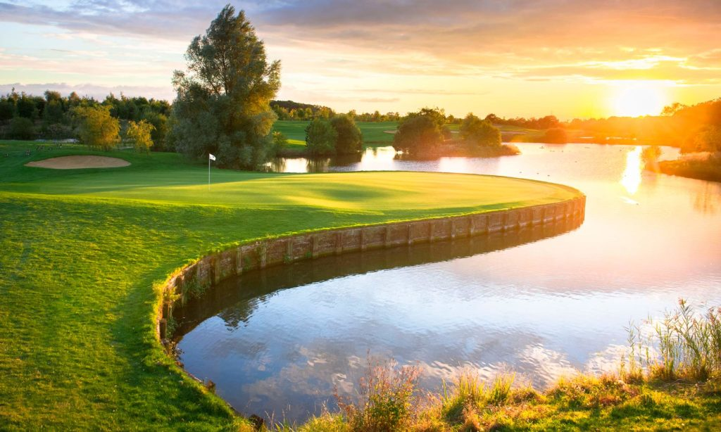 Sunset over the 18 hole golf course at The Shire London